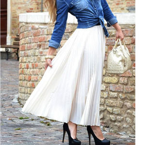 NWT! WDNY Pleated Boho Long Maxi Skirt White Med